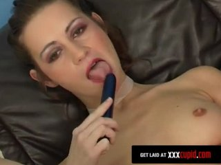 Brunette Stips and Fucks a Dildo