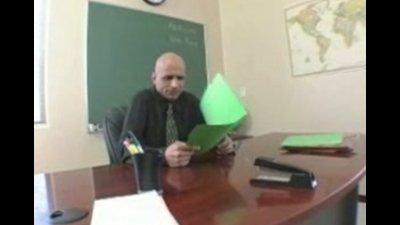 The sexy redhead schoolgirl has her face fucked by a lucky teacher