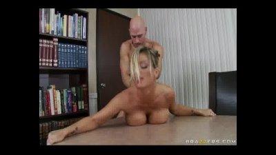 BigTit Blonde Milf fucks sucks coworkers big cock in office