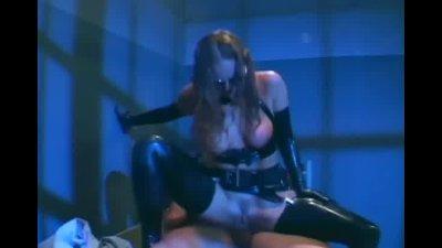 Female cop in uniform fucking in latex lingerie