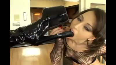 Lesbian divas in stiletto boots and fishnet lingerie