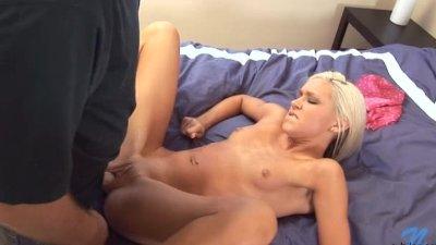 Blonde Model Talks And Masturbates Before Hardcore