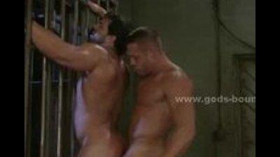 Strong brunette gay soldier punished by boss in bondage brutal ga