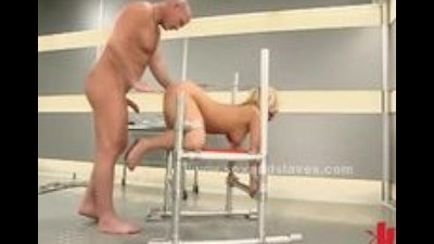Blonde sex slave tied on bondage devices spanked and fucked in ex