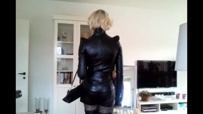Sissy posing in sexy leather