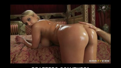 Big tit blonde babe Alanah Rae oiled up, massaged then fucked hard