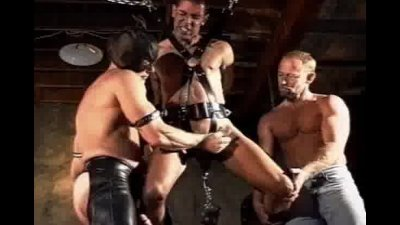 CBT Orgy suspended and caged in chains.