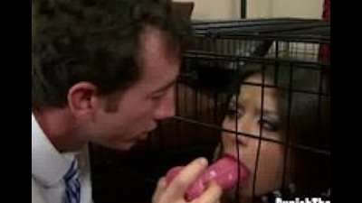 Jynx Maze locked in a cage and gest dick shoved in her mouth