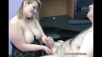 Plump Rebecca in black lingerie and sucking cock