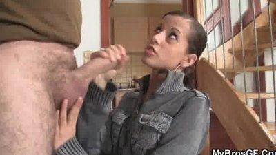 Naughty girl jumps on her BF's bro cock
