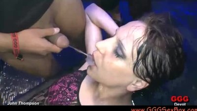 Gia drinks piss and cum in orgy