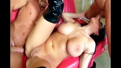 Busty brunette fucking in black thigh high boots