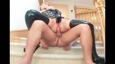Busty milf fucking in latex stockings and a corset