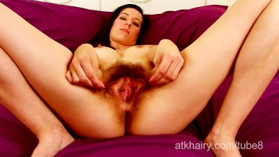 Young Hairy girl Sadie Mathews spreads her hairy bush