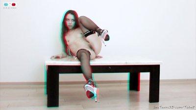 Flexible teen girl posing nude 3D porn backstage