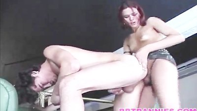 Shemale rides her man fast and deep