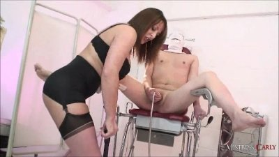 Busty Femdom MistressCarly pumps her pathetic slaves balls dry