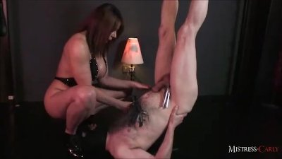 Horny MistressCarly helps her slave cum then makes him drink his spunk