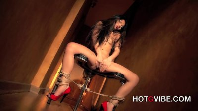 Lady May Tied Up To Chair and Squirting