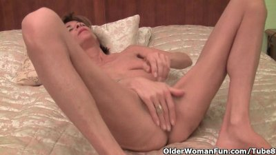 Very skinny granny strips off and masturbates her old tits and pussy