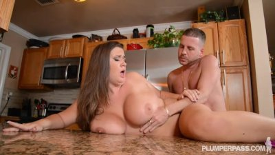 Busty Pornstar Nikki Smith Fucks Hubbys Friend in Kitchen