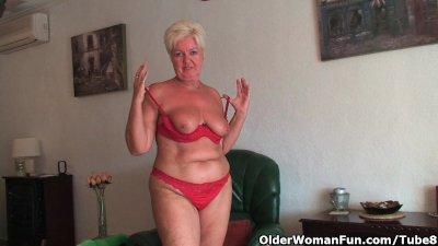 Chubby granny with saggy big tits and plump ass masturbates