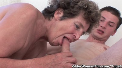 Cock hungry grandma loves anal sex
