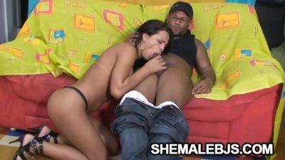 Alessandra Ribeiro - Hungry Shemale Sucking A Big Black Cock