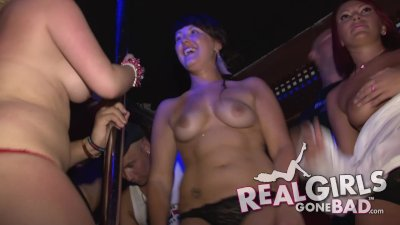 sexy hot college babes striptease in a club on holiday