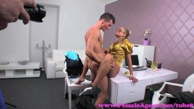 FemaleAgent. Nervous inexperienced stud versus horny MILF agent