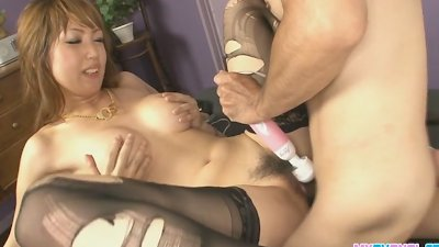 Asian babe Yuki getting her pussy fondled with various toys