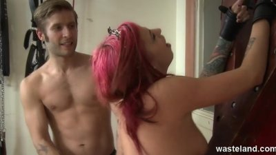 Sub girl gets her ass spanked red raw and her ass licked out