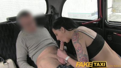 FakeTaxi Black haired tattooed young British women fucking on backseat
