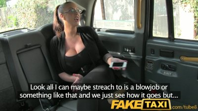 FakeTaxi Huge big tits celebrity takes on taxi cock