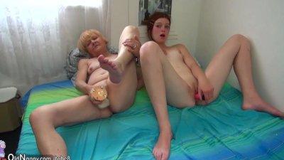 Pretty granny and nice girl masturbating together