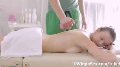 Nastya wants hard sex getting horny on the massage table