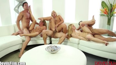 Three sexy blondes swap cocks