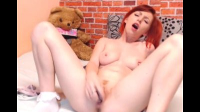 Cute Redhead Strips and Toys her Tight Pussy