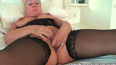 Grandma's bingo night starts with an orgasm