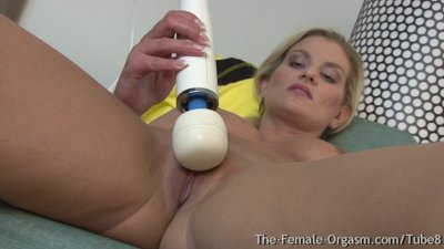 Hot Blonde MILF Striptease and Solo Hitachi Masturbation to Real Orgasms