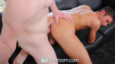 HD GayRoom - Cute guy gets a hard cock watching his sleeping boyfriend
