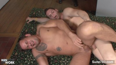 Tattooed gay gets butt nailed well