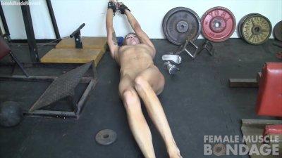 Bound Redhead Charlotte Masturbates in Gym
