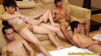 Gay asian twink group tugging and pissing