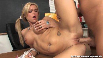 Blonde Student In Pigtails Fucks Teacher!