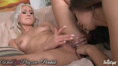 Sexy lesbian scene with hot blonde and brunette