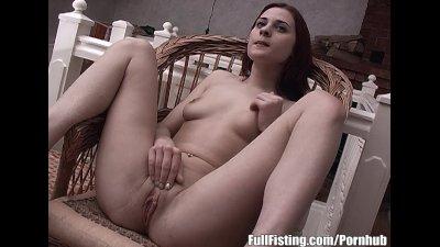 Pretty Redhead Kinky Teen Fisting Her Tight Pussy
