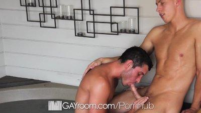 HD GayRoom - Two hot guys kiss softly and fuck