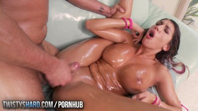 TwistysHard - August Ames gets oiled up and fucked