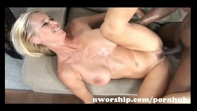 hot blonde milf fucked by a big black cock into interracial sex